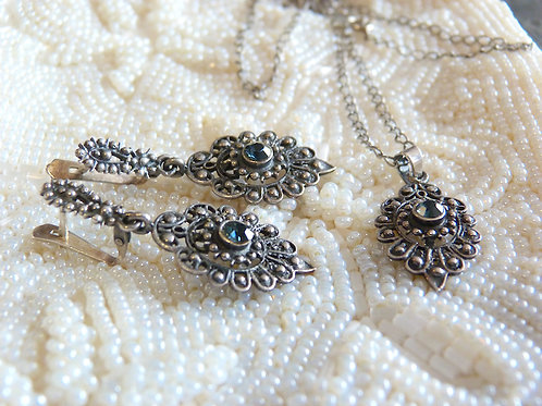Solid silver and blue gem set, Etruscan / Byzantine / Victorian style