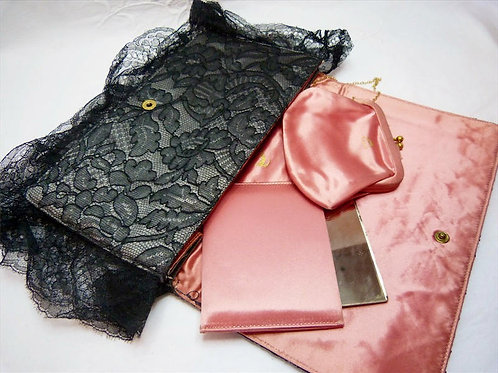 KORET lace and satin evening clutch with purse and mirror