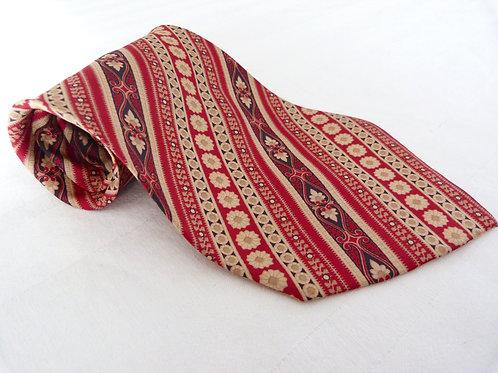 Cravate large Brummell, motif rétro rouge et beige