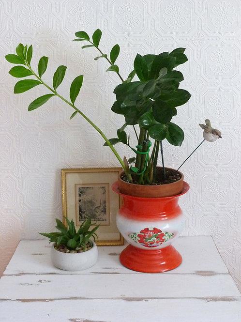 Enamelled metal flowerpot - Bon voyage Shangaï - 21 cm