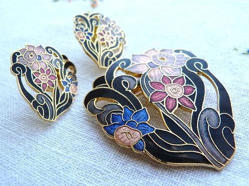 Ensemble broche et boucles d'oreilles en métal peint cloisonné style émail