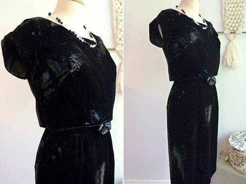 Robe à manches courtes en velours noir