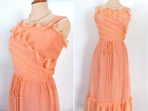Long Chiffon Ruffle Dress