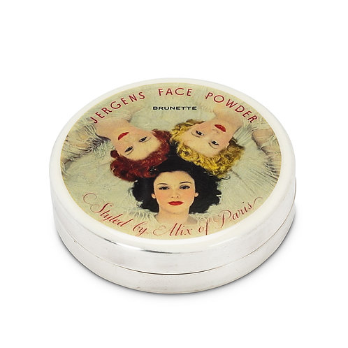 Vintage Style Case - Silver Plated - Jergens Face Powder