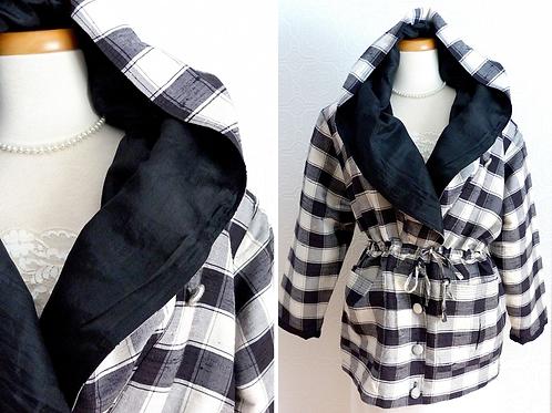 Manteau léger 100% soie à capuche