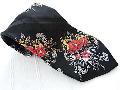 Cravate brocard noire, motifs floraux - Renée de Deauville