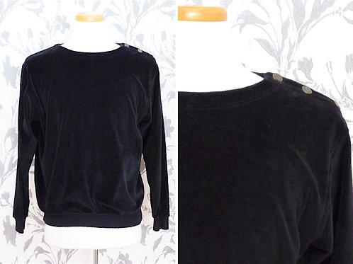 Black soft velor Liz Sport sweater - buttons on the shoulder