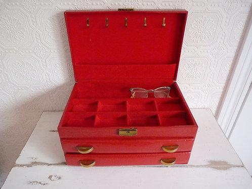 Boîte à bijoux 3 niveaux en simili croco rouge - Buxton