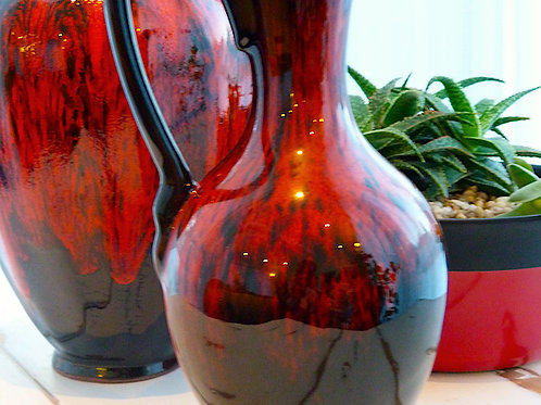 """Vase en poterie des années 60 - style """"Dripping"""""""