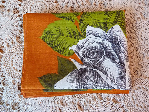 Irish linen tea towel `` White rose by Ulster '' - 1970s (NOS)