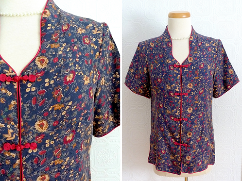 Chinese silk top, Brandenburg closures - 1960s