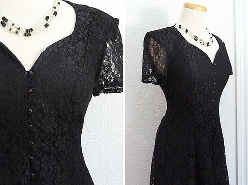 Robe longue en dentelle noire - Algo