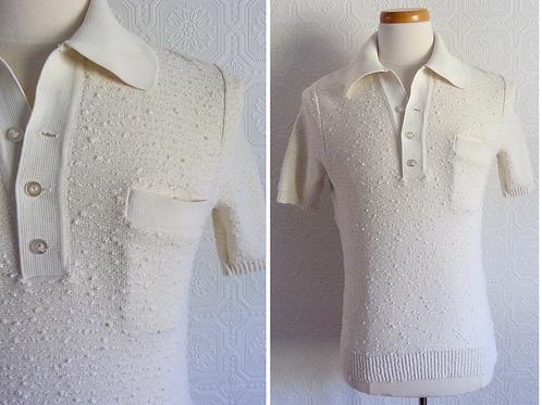 Cream woolen polo knitwear - Eaton Aristocrat - 1950s-1960s