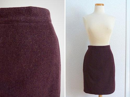Short plum-colored wool skirt - BENETTON