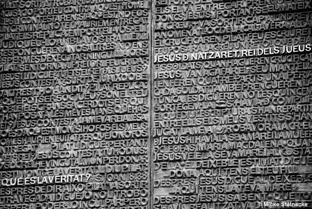 Detalj av vägg i La Sagrada Familia, Barcelona, Spanien.