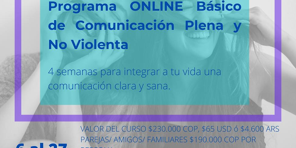 Programa ONLINE básico de Comunicación Plena y No-Violenta Agosto 2020