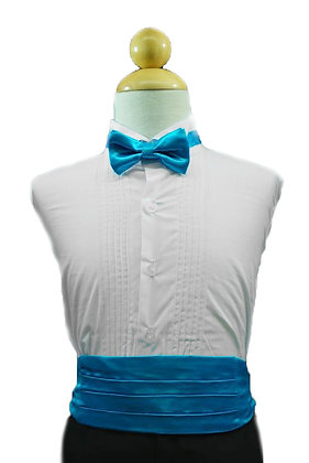 2 pc (Turquoise Satin Bow Tie and Cummerbund)