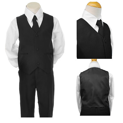 BY001 Boys 4 PCS Black Vest Set Suit