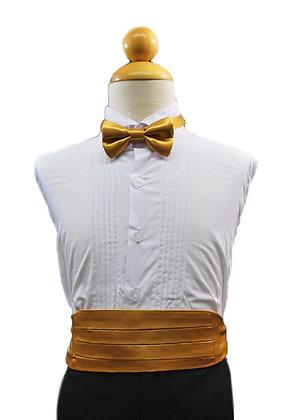 2 pc (Gold Satin Bow Tie and Cummerbund)