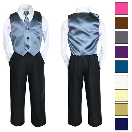 4 pc Boy Satin Vest and Long Tie 8-20