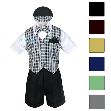 Baby Boy Checkered Shorts Vest Set S-4T