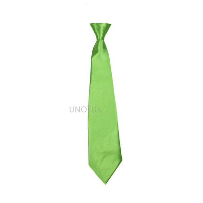 Lime Satin Clip-on Long Necktie (S-20)