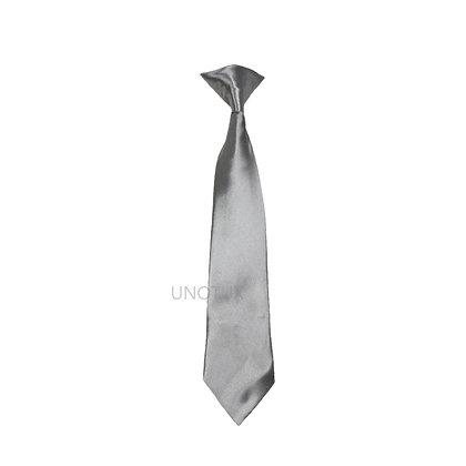 Silver Satin Clip-on Long Necktie (S-20)