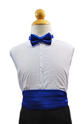 2 pc (Royal Blue Satin Bow Tie and Cummerbund)