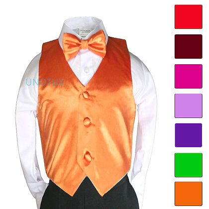 2 pc Satin Vest and Bow Tie Set (Size S-7)