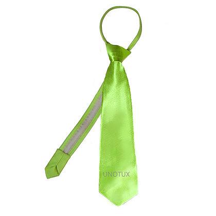 Lime Satin Zipper Long Neck Tie (S-20)