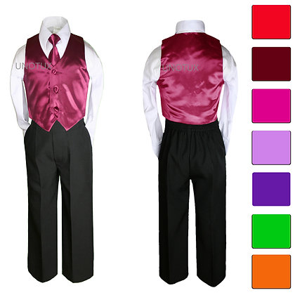 4 pc Boy Satin Vest and Long Tie Set 8-20