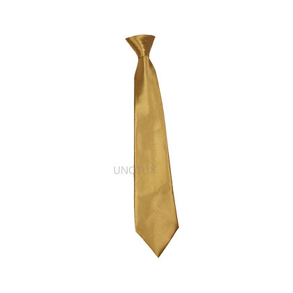Gold Satin Clip-on Long Necktie (S-20)
