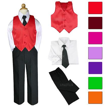 4pc Boy Satin Vest Set with Black Tie S-7