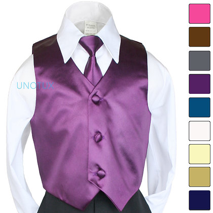 2 pc Satin Vest and Long Tie Set (Size 8-14)