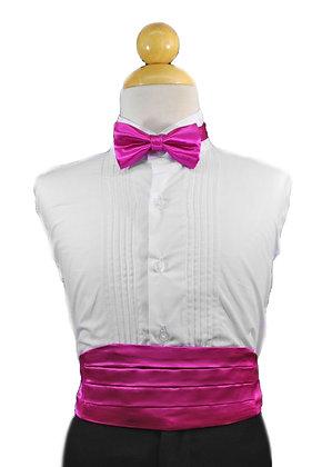 2 pc (Fuchsia Satin Bow Tie and Cummerbund)