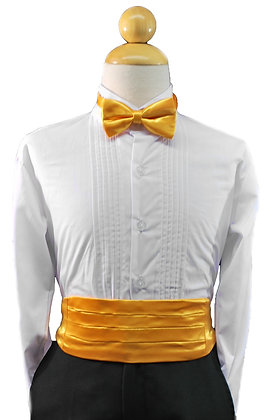 2 pc (Yellow Satin Bow Tie and Cummerbund)
