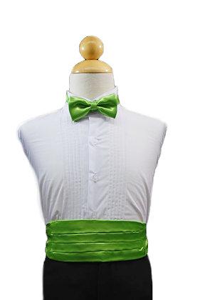 2 pc (Lime Green Satin Bow Tie and Cummerbund)