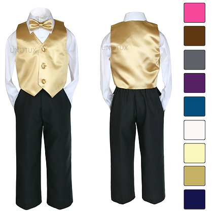 4 pc Boy Satin Vest and Bow Tie Set S-7