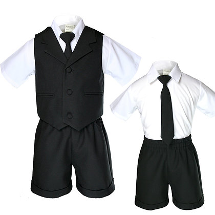 BT222 Black Boys Vest Shorts Sets S-4T