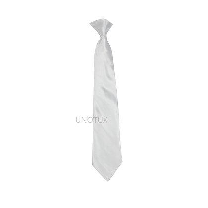 White Satin Clip-on Long Necktie (S-20)