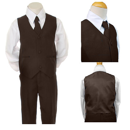 Boys 4 PCS Brown Vest Set Suit