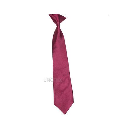 Burgundy Satin Clip-on Long Necktie (S-20)