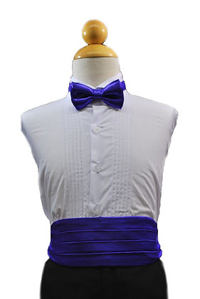 2 pc (Purple Satin Bow Tie and Cummerbund)