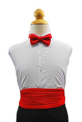 2 pc (Red Satin Bow Tie and Cummerbund)