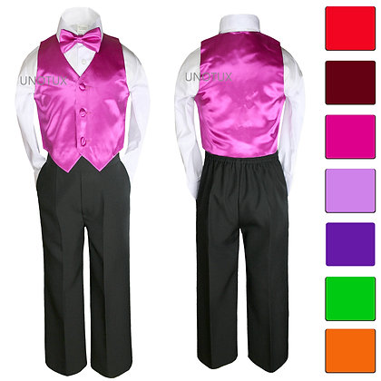 4 pc Boys Satin Vest and Bow Tie Set 8-20