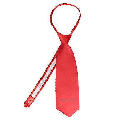 Red Satin Zipper Long Neck Tie (S-20)