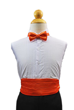 2 pc (Orange Satin Bow Tie and Cummerbund)