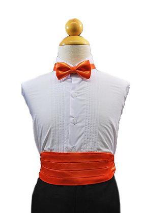 2 pc (Orange Satin Bow Tie and Cummerbund)
