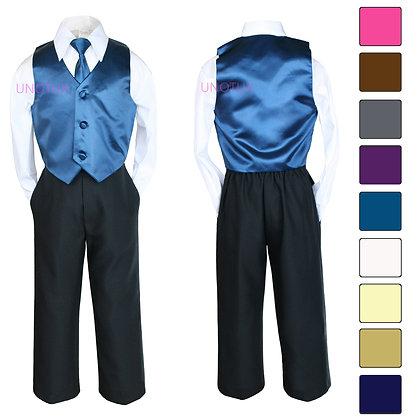 4 pc Boy Satin Vest and Long Tie Set S-7
