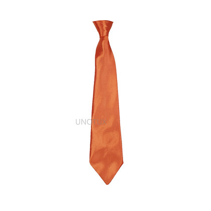 Orange Satin Clip-on Long Necktie (S-20)